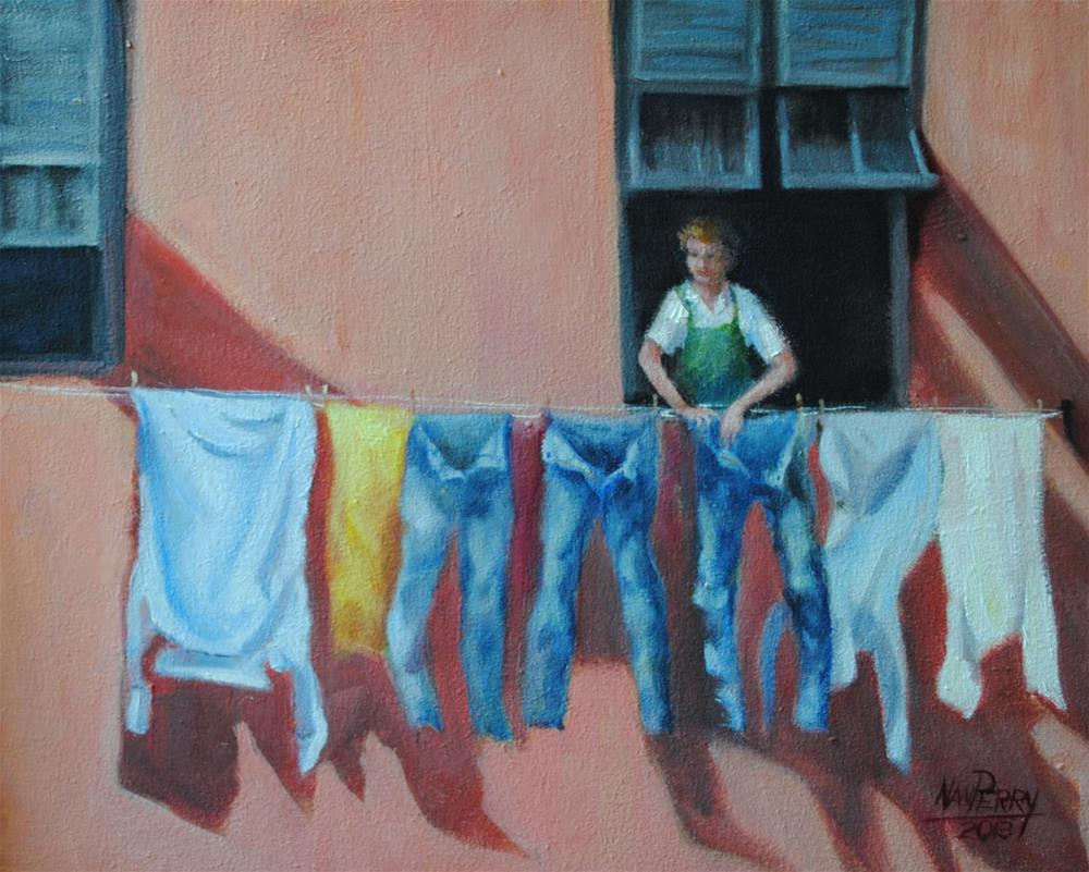 """Laundry Day"" original fine art by Nan Perry"
