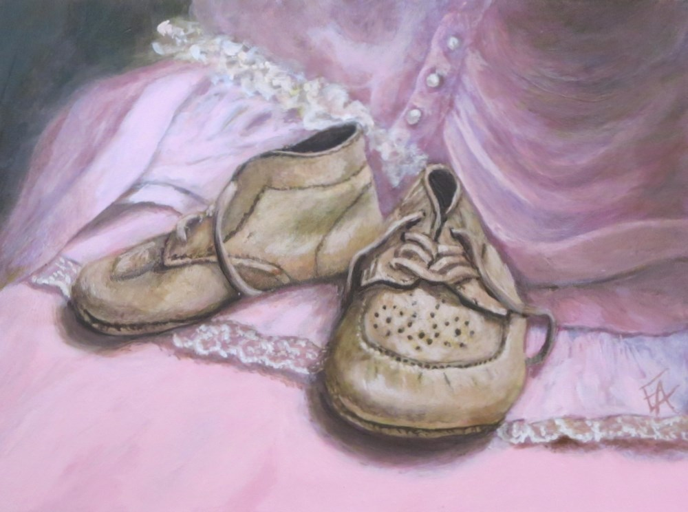 """Babyshoes on Pink (Framed)"" original fine art by Elizabeth Elgin"