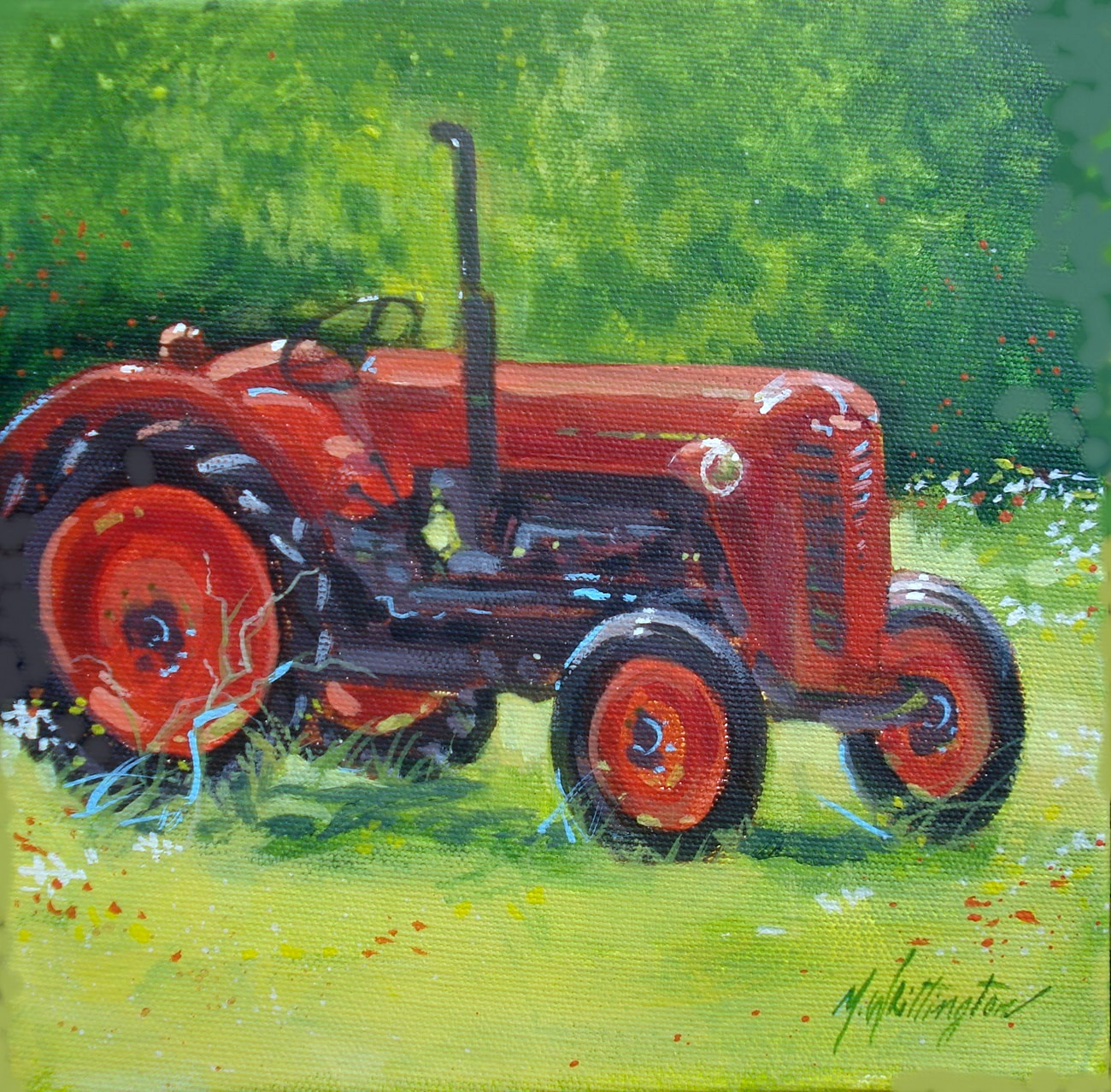 """Red Tractor"" original fine art by Margie Whittington"