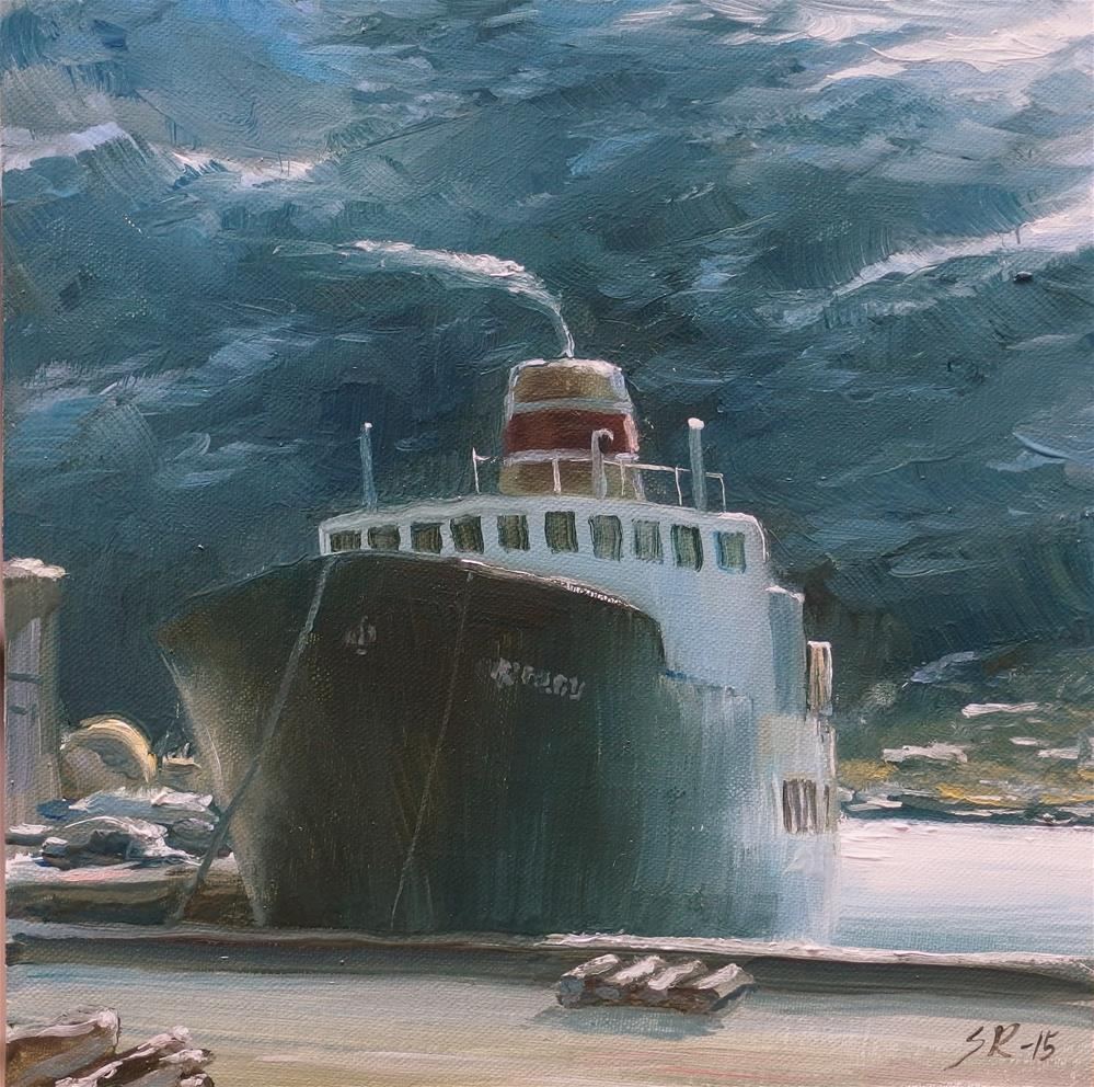 """Narvik Harbour"" original fine art by Stig Rosenlund"