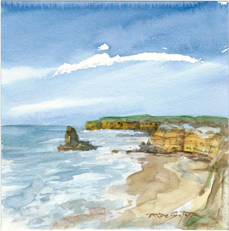 """North County Cliffs"" original fine art by Rafael DeSoto Jr."