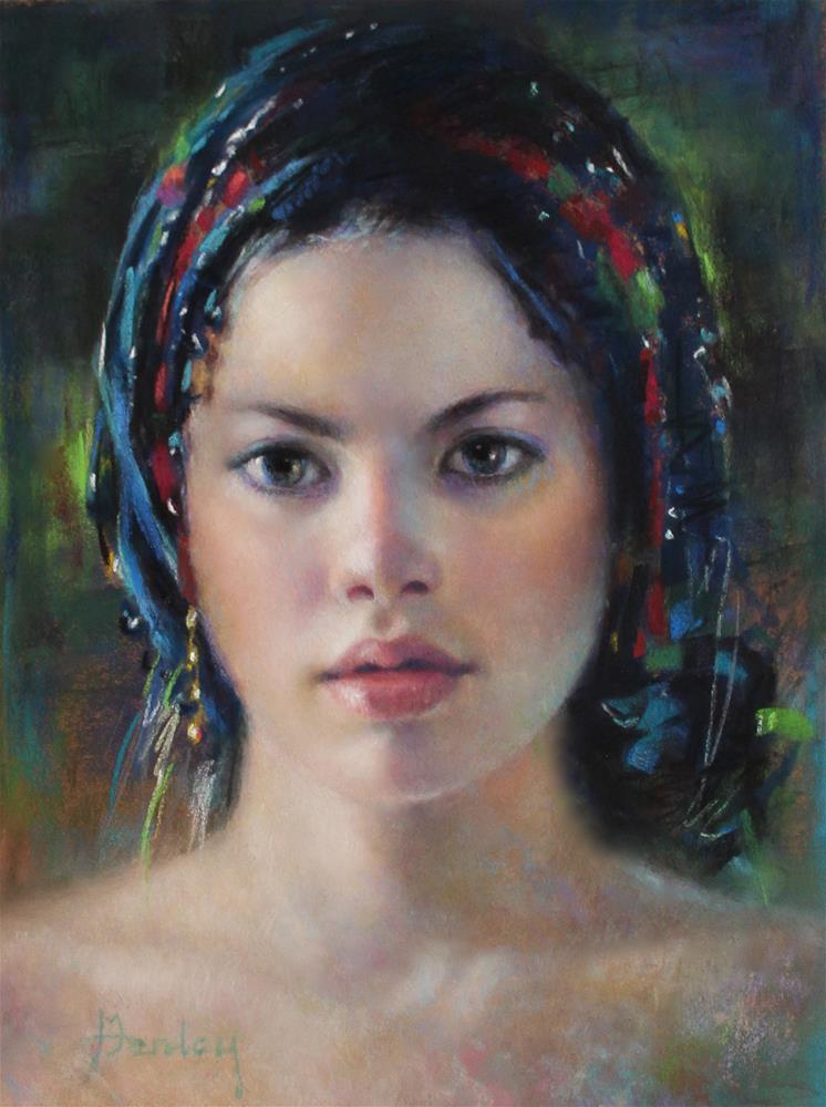 """Blue Turban"" original fine art by Denise Henley"