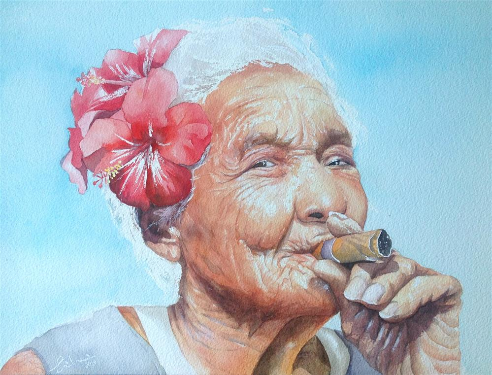 """15'25N   61'04W  (Happy lady)"" original fine art by Hui (Hue) Li"