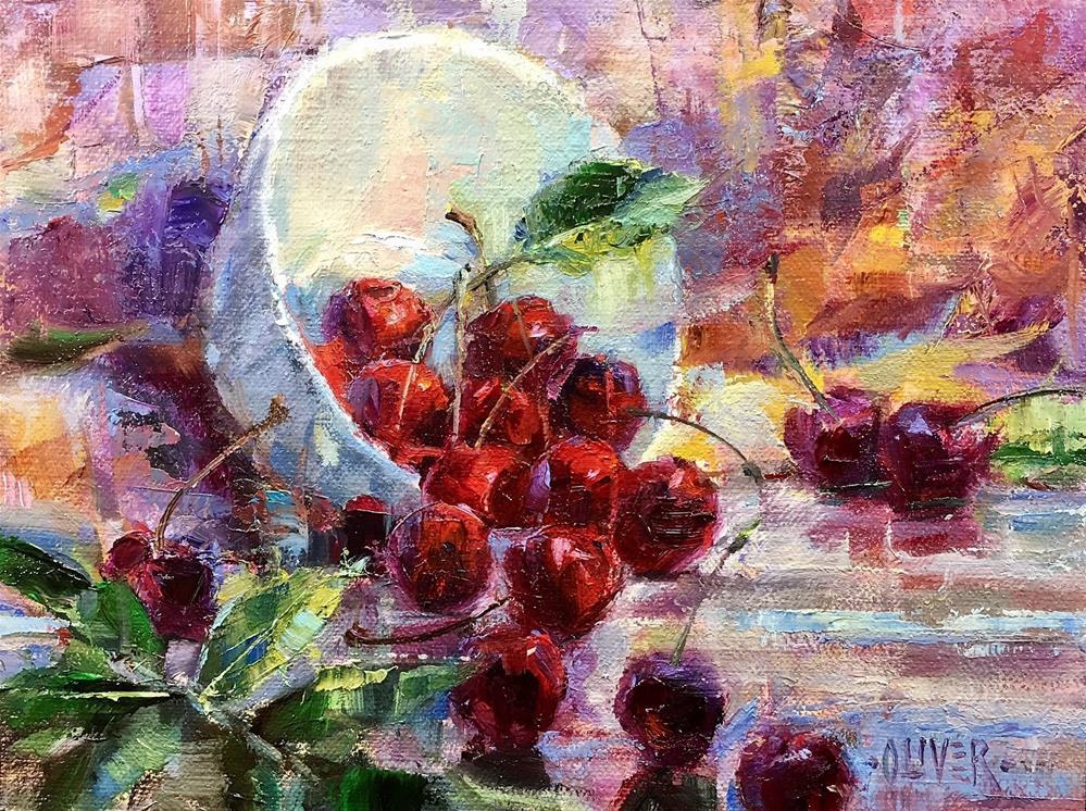 """""""Spilled Cherries"""" original fine art by Julie Ford Oliver"""