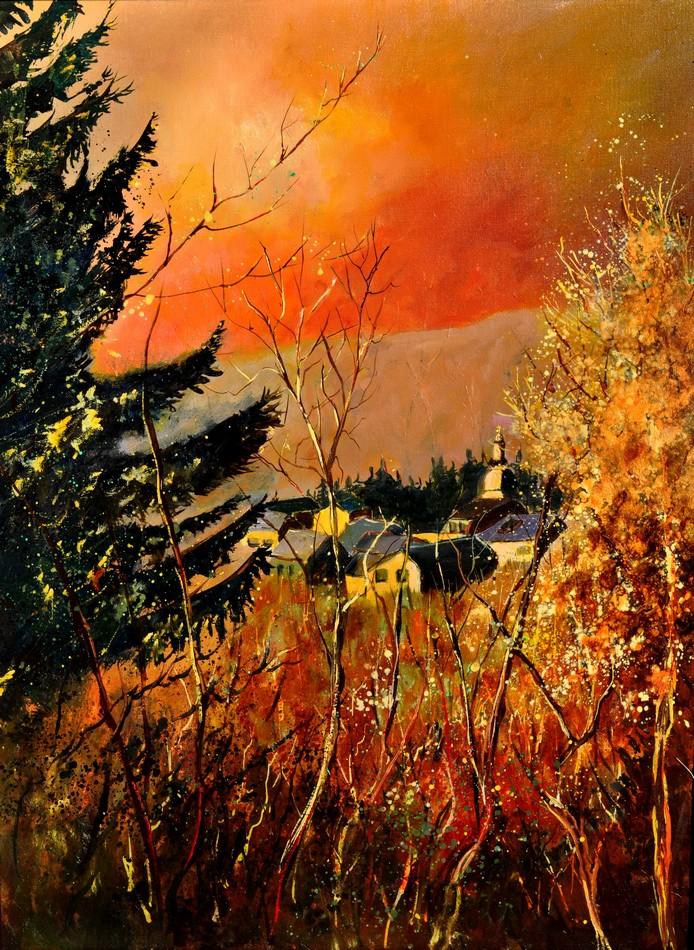 """Rochehaut in autumn 6811"" original fine art by Pol Ledent"
