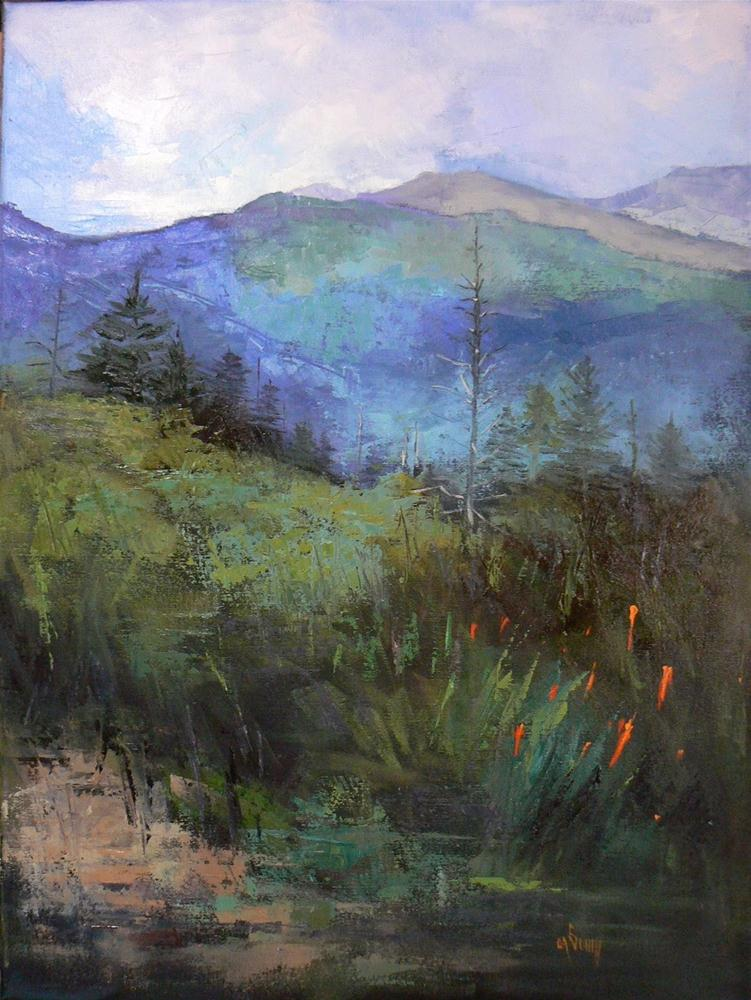 """Mountain, Landscape, Oil Painting, The Blue Ridge 18x24 18x24"" original fine art by Carol Schiff"