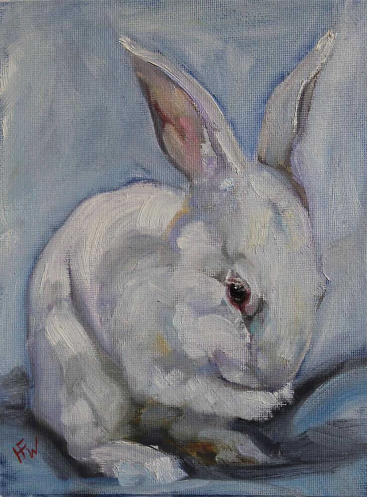 """White Rabbit #2"" original fine art by H.F. Wallen"
