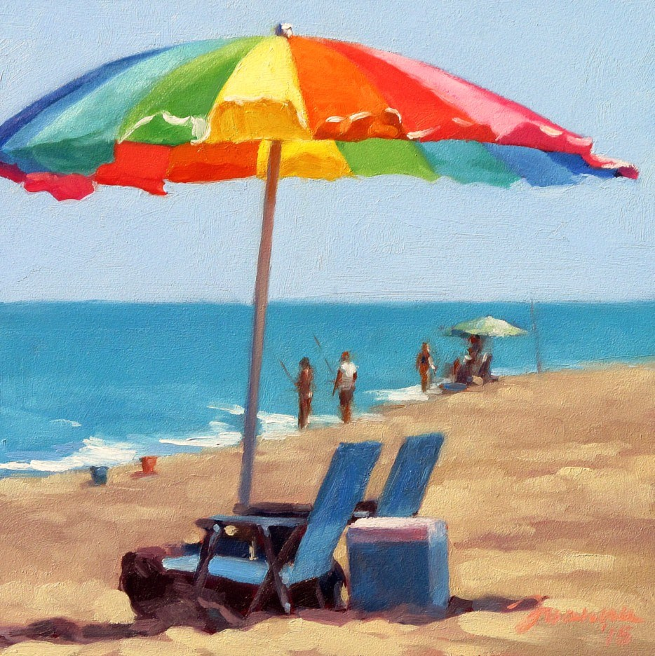 """Rainbow--Series Painting of Beach Umbrella"" original fine art by Joanna Bingham"