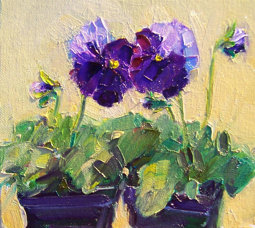 """Winter Pansies,still life, oil on canvas,8x8,prie $250"" original fine art by Joy Olney"