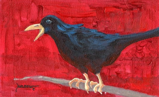 """ORIGINAL RAVEN PAINTING  HOLD THAT THOUGHT"" original fine art by Sue Furrow"