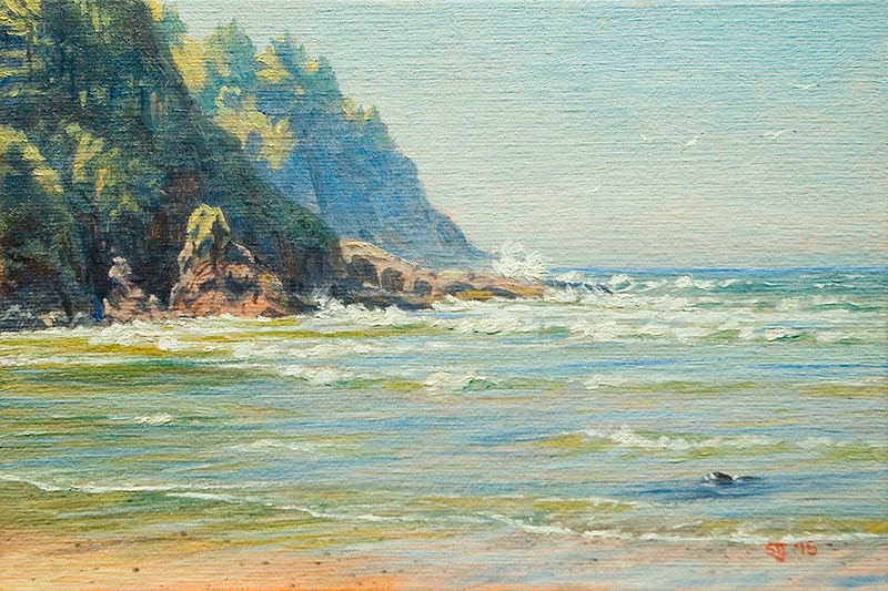"""C1603 Rising Tide at the Devil's Elbow … Looking South (Oregon Coast)"" original fine art by Steven Thor Johanneson"
