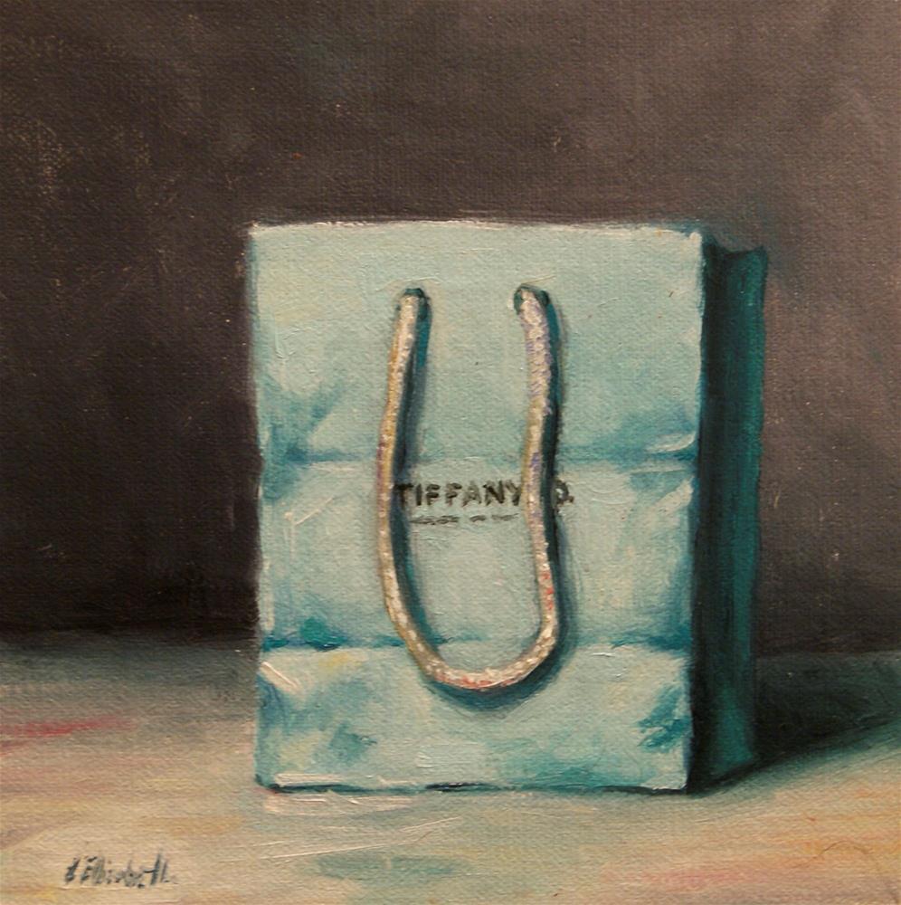 """Tiffany Bag, 6x6 Oil on linen Panel"" original fine art by Carolina Elizabeth"