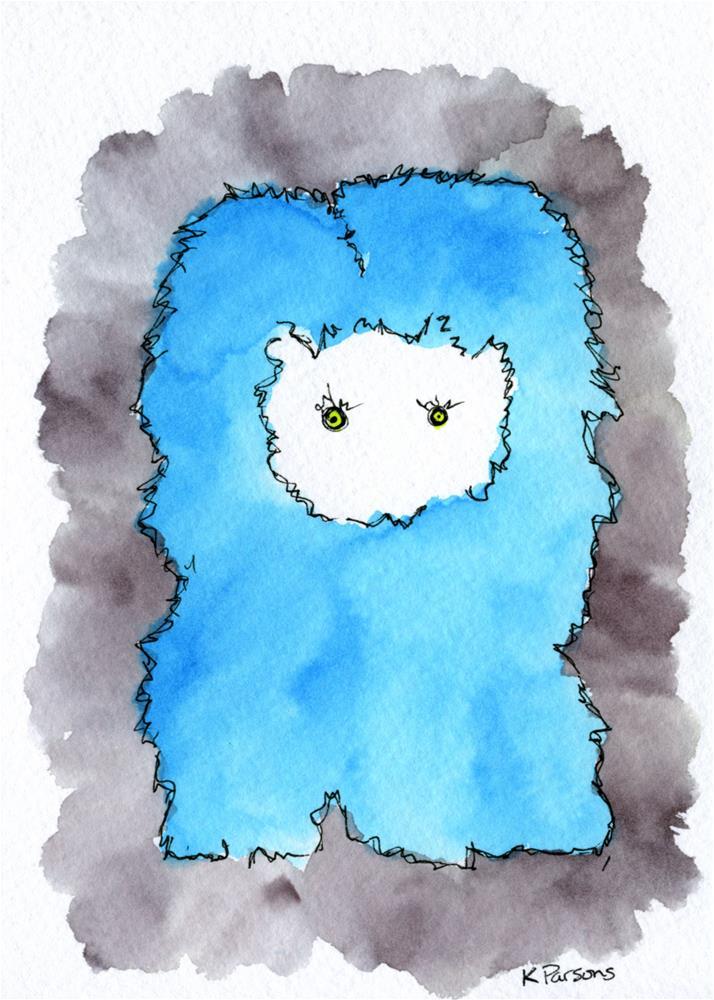 """Fuzzy Blue Monster"" original fine art by Kali Parsons"