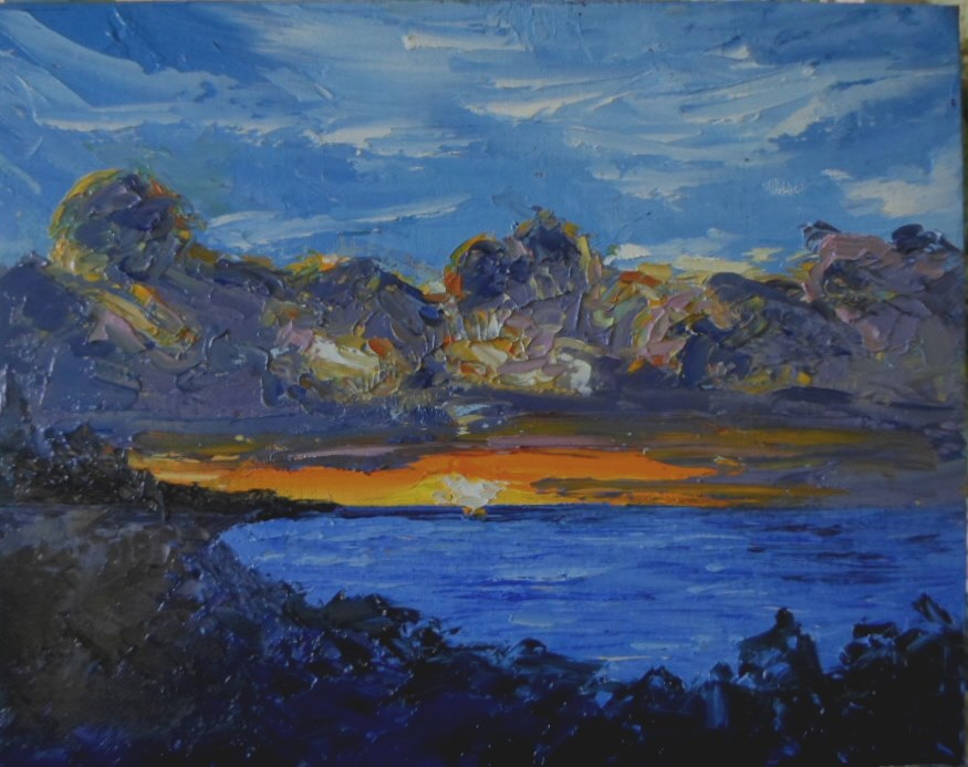 """8 x 10 inch Sunset Series #13"" original fine art by Linda Yurgensen"