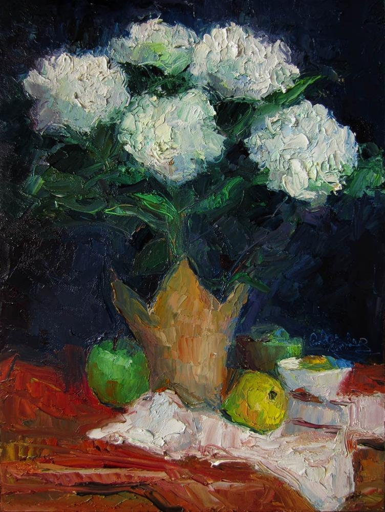 """White Hydrangea Two"" original fine art by Carol Steinberg"