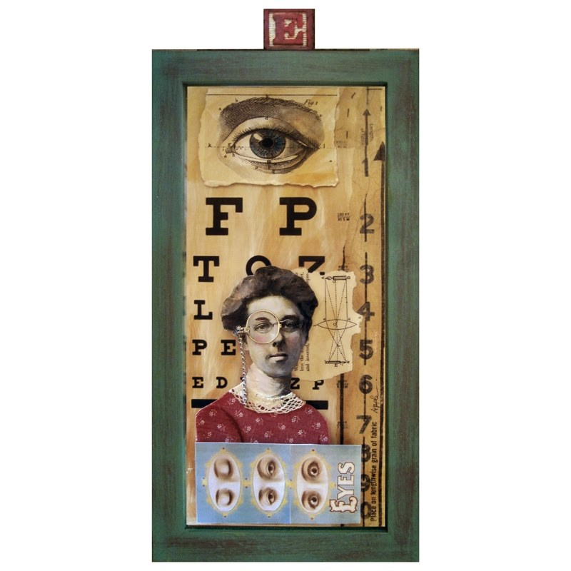 """All about EYES - 3D mixed media collage assemblage"" original fine art by Linda Apple"