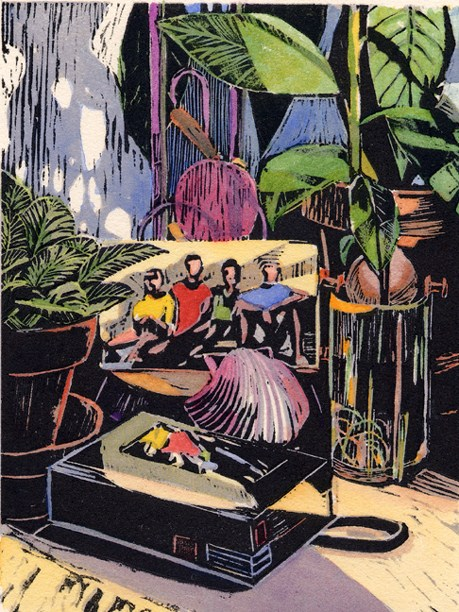"""Woodcut: Avocado Still Life"" original fine art by Belinda Del Pesco"