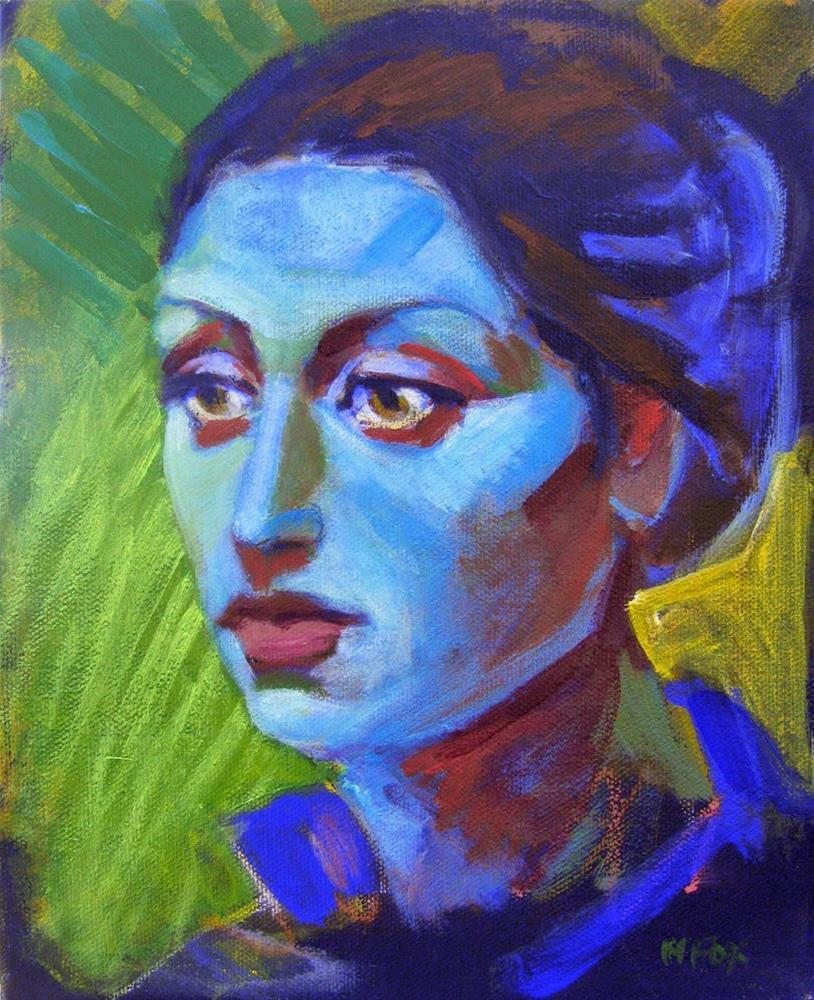 """Face of woman, figurative art, female figuration, contemporary figure painter, colorful portrait"" original fine art by Marie Fox"