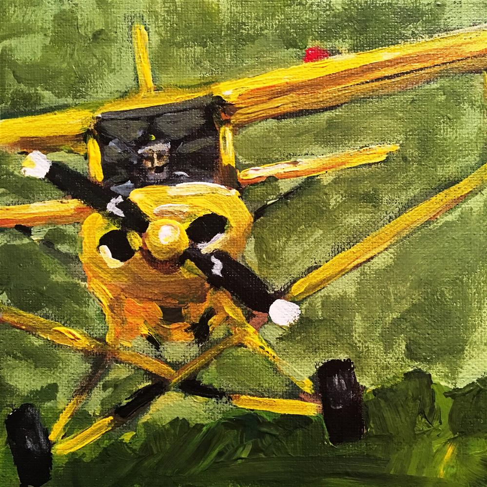 """Yellow Piper Cub"" original fine art by Susan Elizabeth Jones"