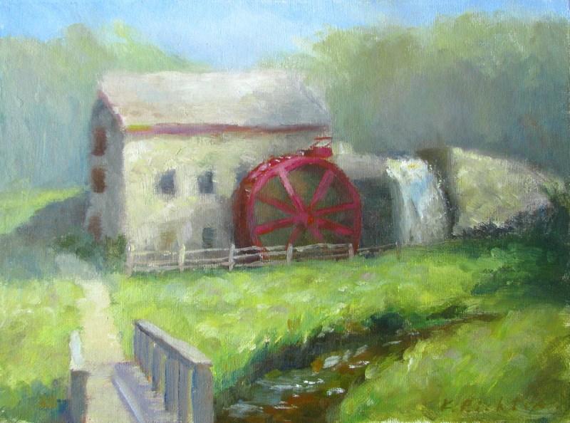 """""""Water Mill at Wayside Inn"""" original fine art by Keiko Richter"""