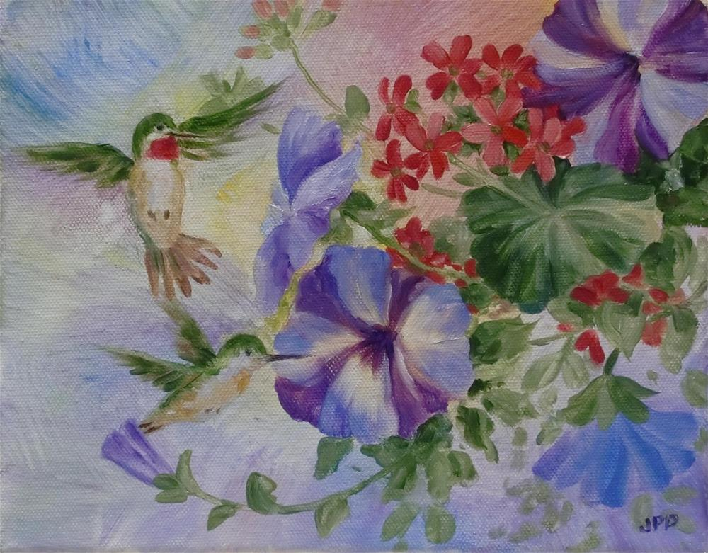 """Hummers and Petunias"" original fine art by Jean Pierre DeBernay"