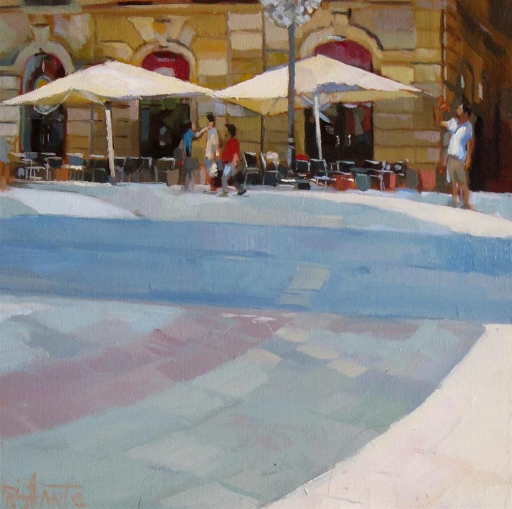 """White umbrellas"" original fine art by Víctor Tristante"