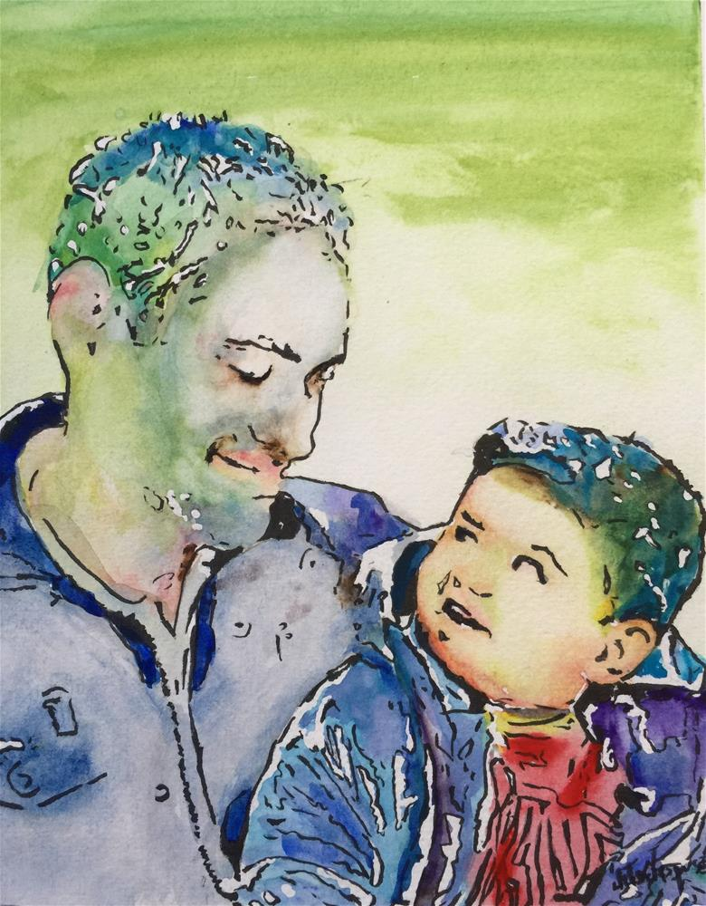 """Father and Son look"" original fine art by Juan Velasquez"