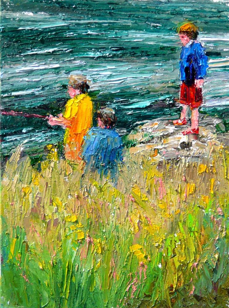 """Fishing in the Stream.figures,oil painting,8x6,price$350"" original fine art by Joy Olney"