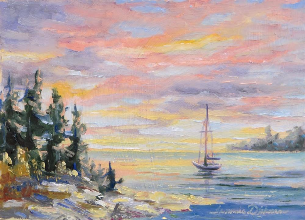 """Sunrise Glory on the Lake"" original fine art by Tammie Dickerson"