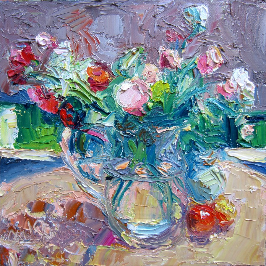 """Brentwood Roses with Plums"" original fine art by Carol Steinberg"