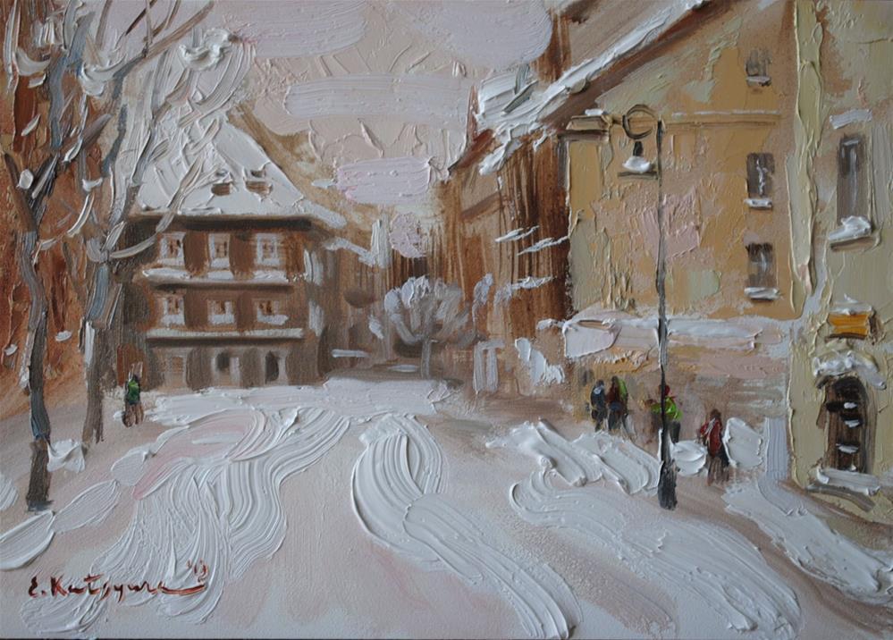 """First Snow"" original fine art by Elena Katsyura"