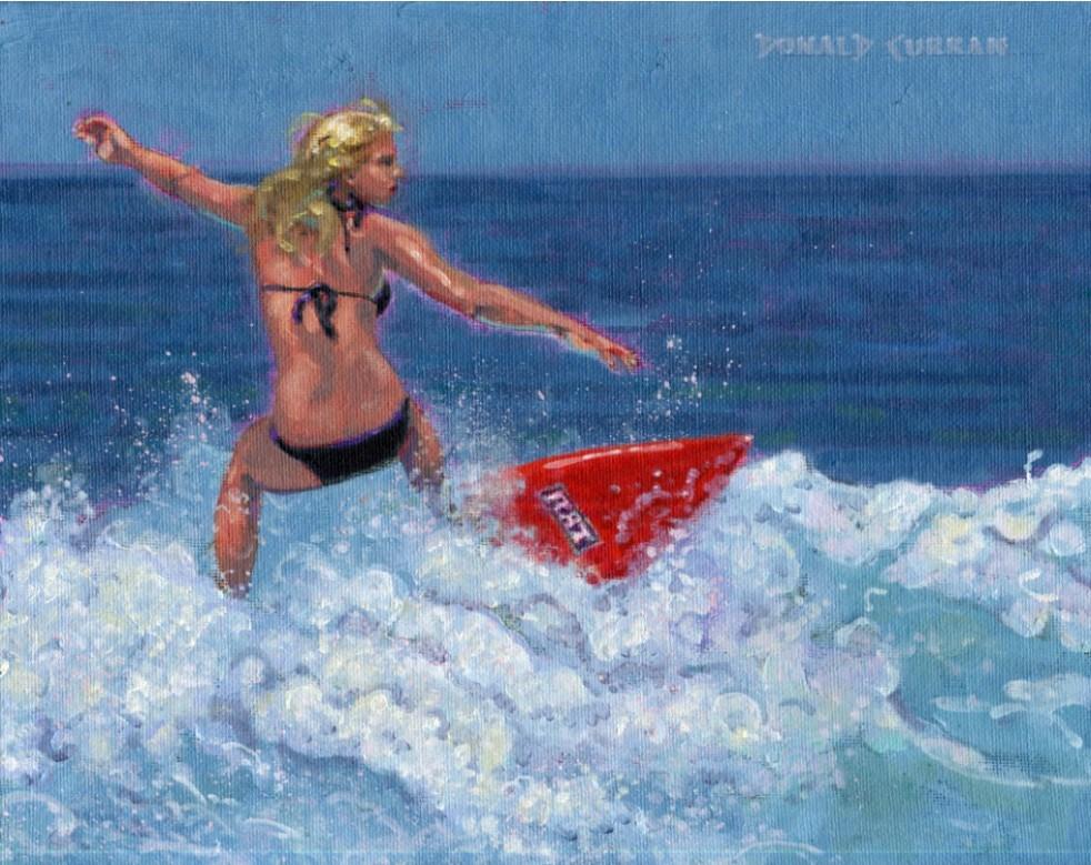"""Surfer Girl"" original fine art by Donald Curran"