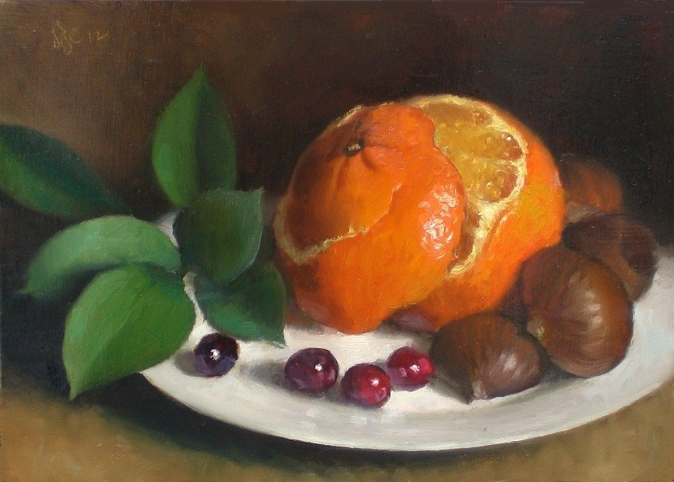 """Tangerine and Chestnuts"" original fine art by Debra Becks Cooper"