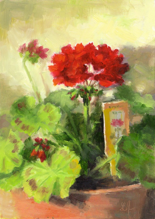 """Geranium in Red"" original fine art by Linda Jacobus"