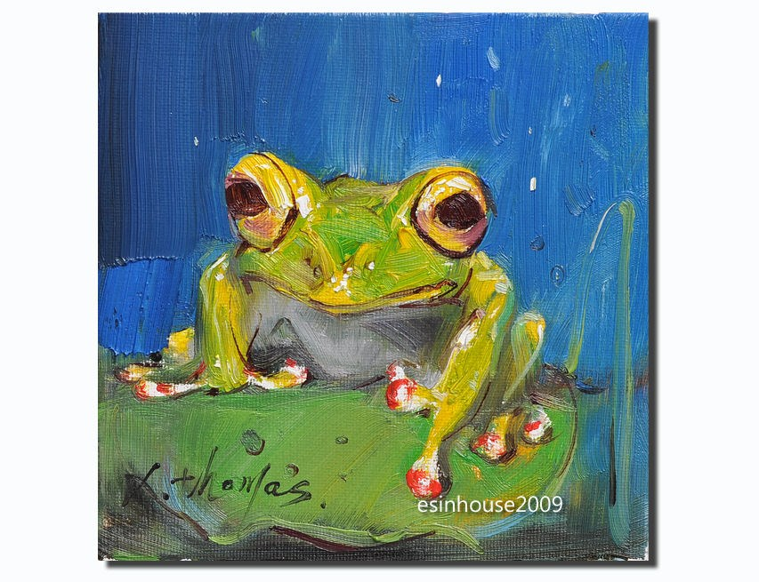 """frog Amphibians tree frog originals oil painting art The only version 6x6"""" original fine art by Thomas Xie"
