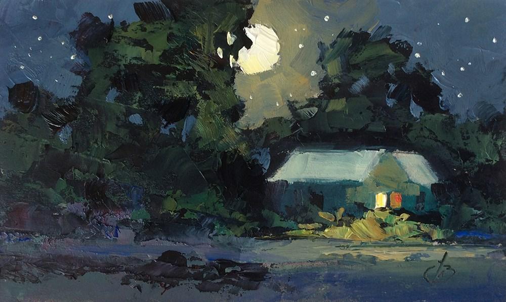 """PEACEFUL NIGHT"" original fine art by Tom Brown"