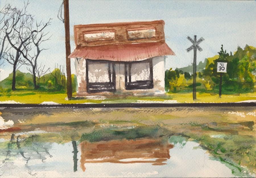 """Old Train Depot"" original fine art by Rafael DeSoto Jr."