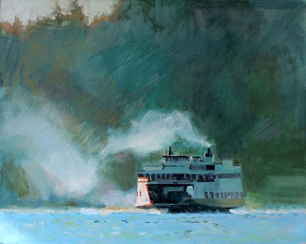 """Blue Green Smoke Ferry"" original fine art by Gretchen Hancock"