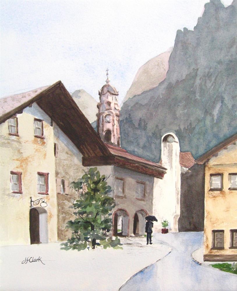 """Rainy day in Mittenwald, Germany"" original fine art by Judith Freeman Clark"