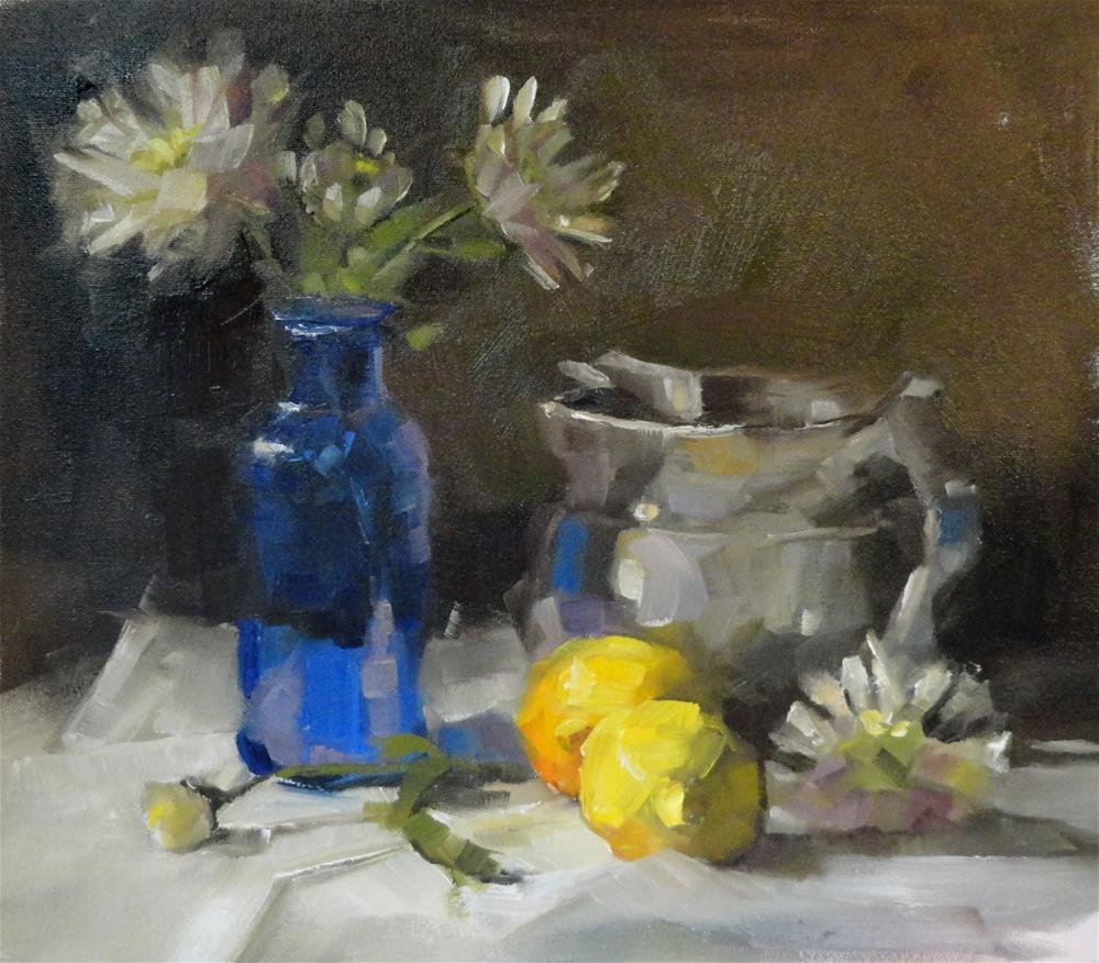 """Lemons and Blue Glass"" original fine art by Barbara Schilling"
