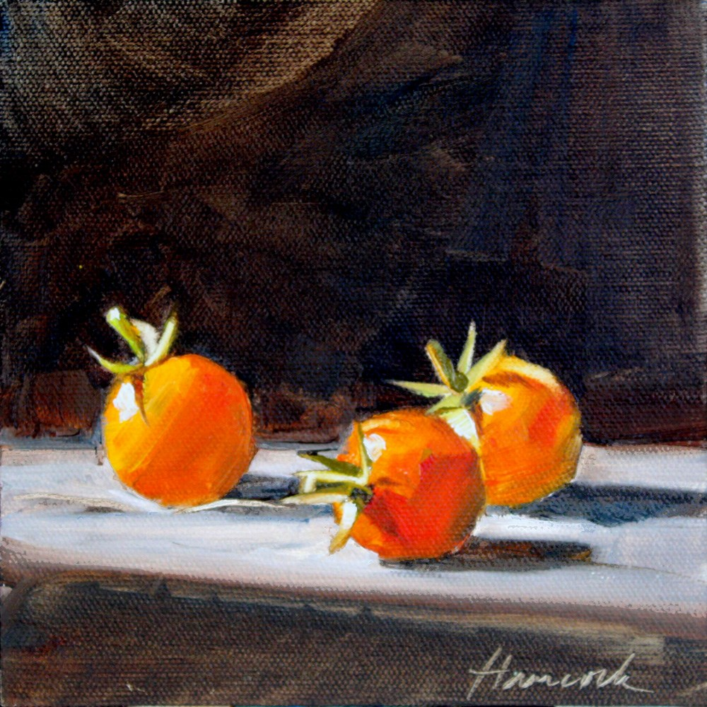 """Three Orange Tomatoes"" original fine art by Gretchen Hancock"