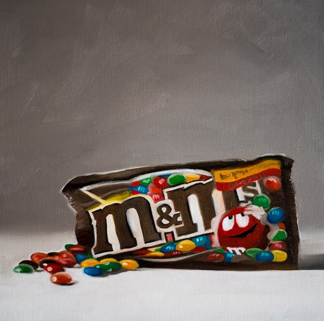 """Chocolate M&Ms"" original fine art by Lauren Pretorius"