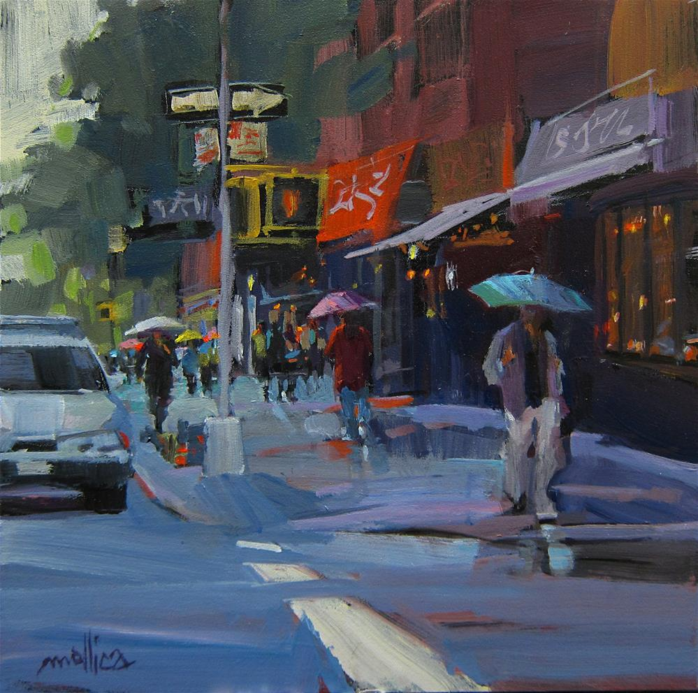 """Midtown Showers in NYC"" original fine art by Patti Mollica"