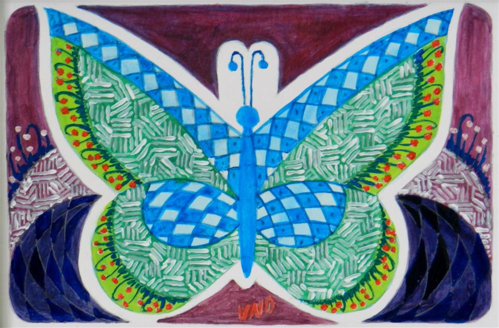 """Zen'tangle Butterfly"" original fine art by Velma Davies"