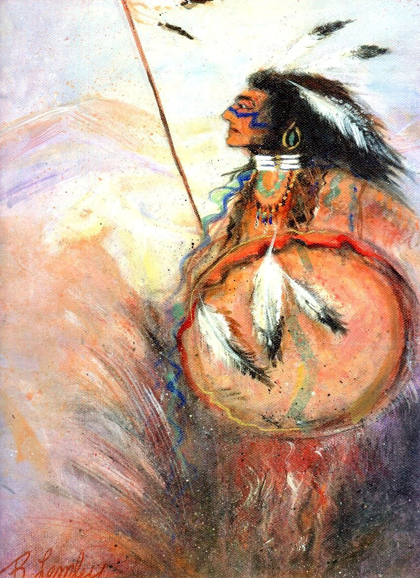 """Chief Warrior"" original fine art by Barbara Lemley"