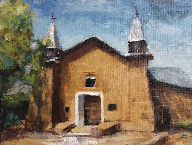 """San Ysidro Church"" original fine art by J. Farnsworth"