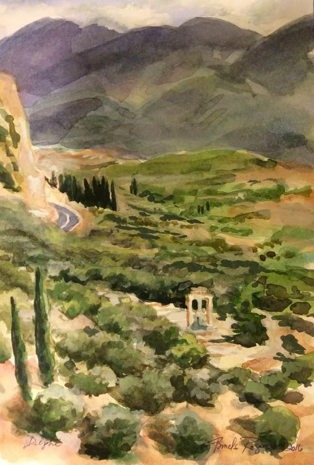 """Delphi Temple of Athena"" original fine art by Pamela Jane Rogers"
