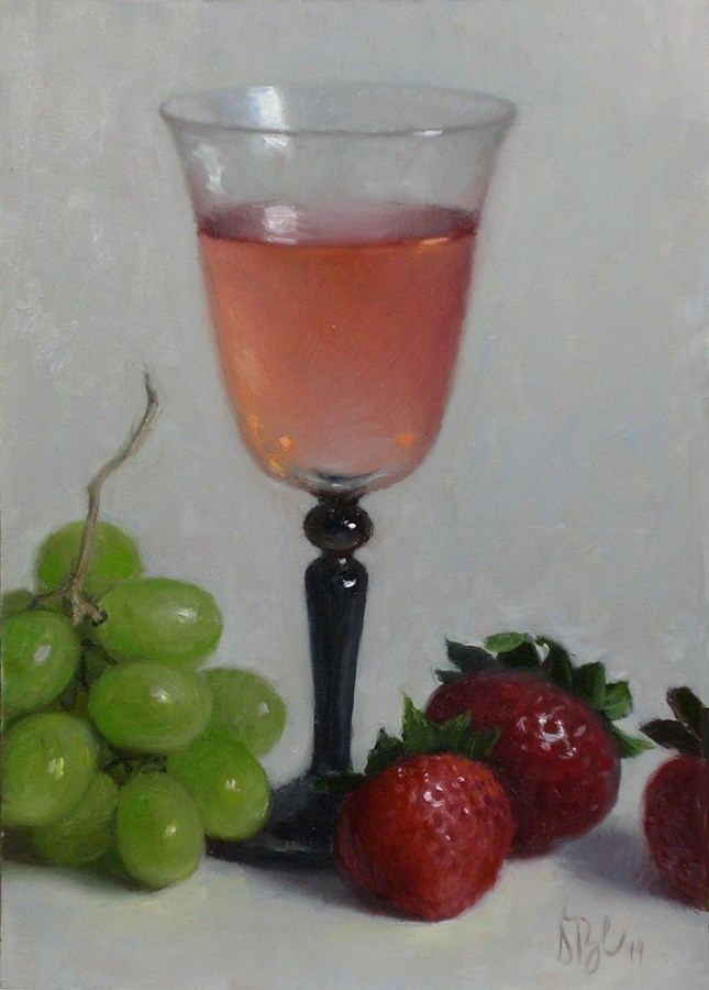 """Pink Moscato and Summer Fruit"" original fine art by Debra Becks Cooper"