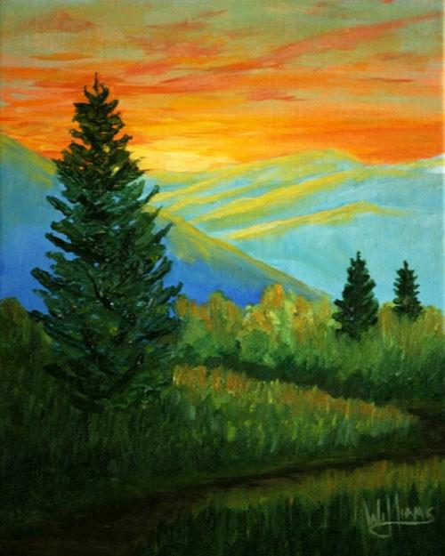 """Sunset over the Blue Ridge"" original fine art by Sunny Williams"