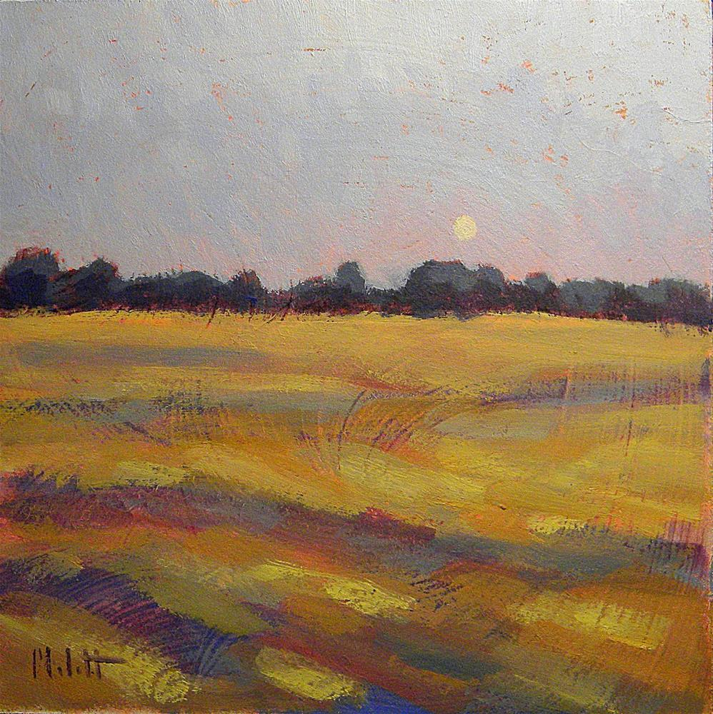 """Autumn Moon Rural Landscape Harvest Field Original Art"" original fine art by Heidi Malott"